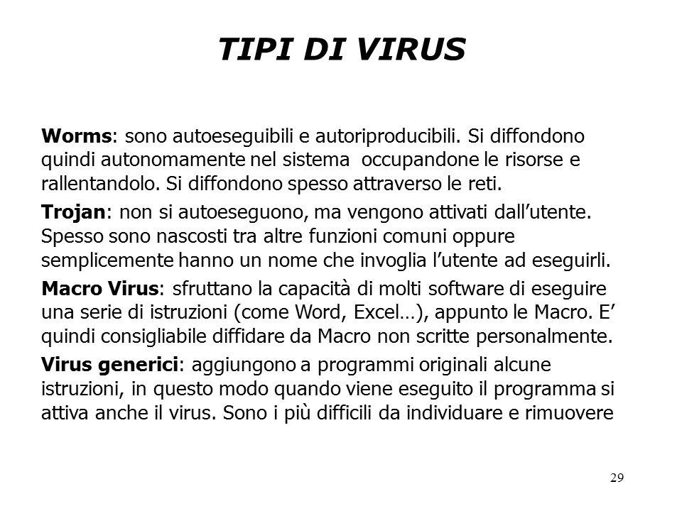 29 TIPI DI VIRUS Worms: sono autoeseguibili e autoriproducibili.