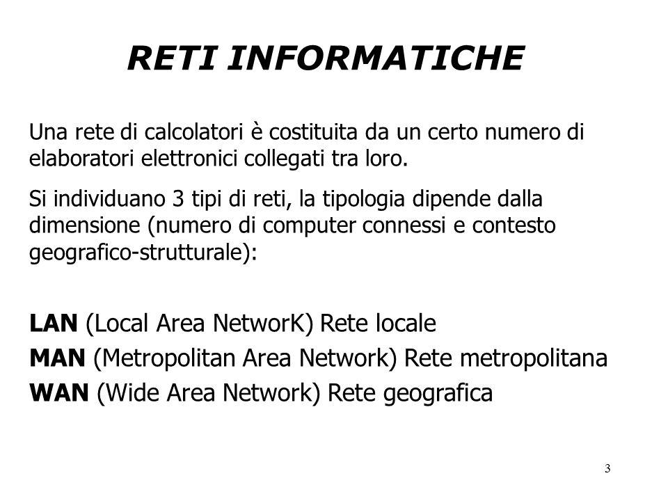 3 RETI INFORMATICHE Una rete di calcolatori è costituita da un certo numero di elaboratori elettronici collegati tra loro.