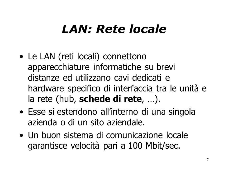 7 LAN: Rete locale Le LAN (reti locali) connettono apparecchiature informatiche su brevi distanze ed utilizzano cavi dedicati e hardware specifico di interfaccia tra le unità e la rete (hub, schede di rete, …).