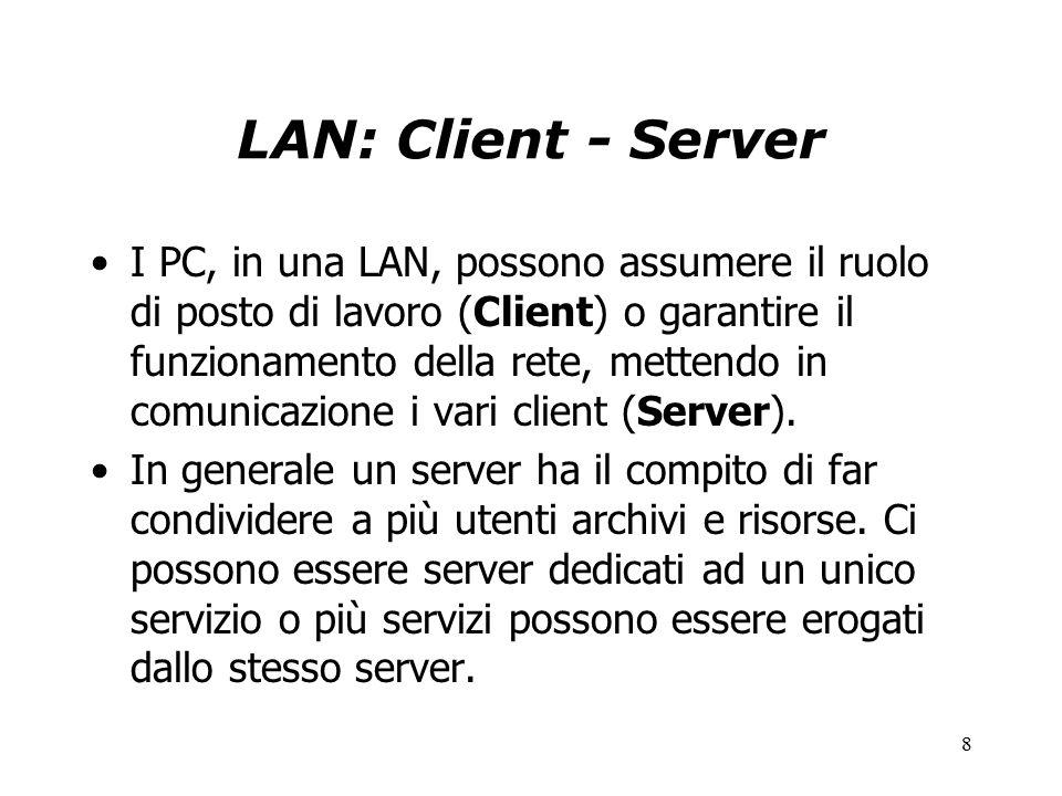 8 LAN: Client - Server I PC, in una LAN, possono assumere il ruolo di posto di lavoro (Client) o garantire il funzionamento della rete, mettendo in comunicazione i vari client (Server).