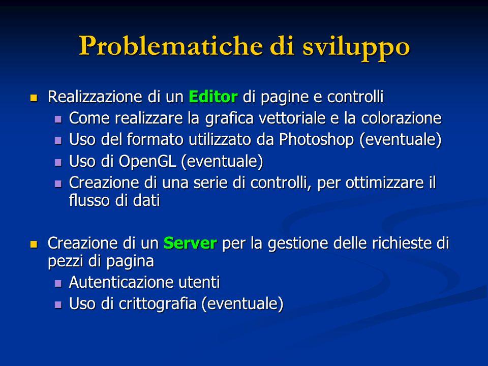 Problematiche di sviluppo Realizzazione di un Editor di pagine e controlli Realizzazione di un Editor di pagine e controlli Come realizzare la grafica