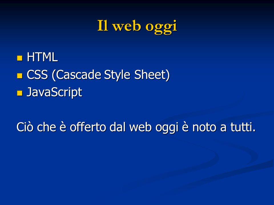 Il web oggi HTML HTML CSS (Cascade Style Sheet) CSS (Cascade Style Sheet) JavaScript JavaScript Ciò che è offerto dal web oggi è noto a tutti.