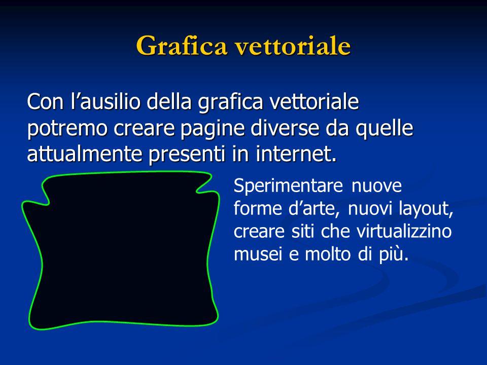 Grafica vettoriale Con l'ausilio della grafica vettoriale potremo creare pagine diverse da quelle attualmente presenti in internet. Sperimentare nuove