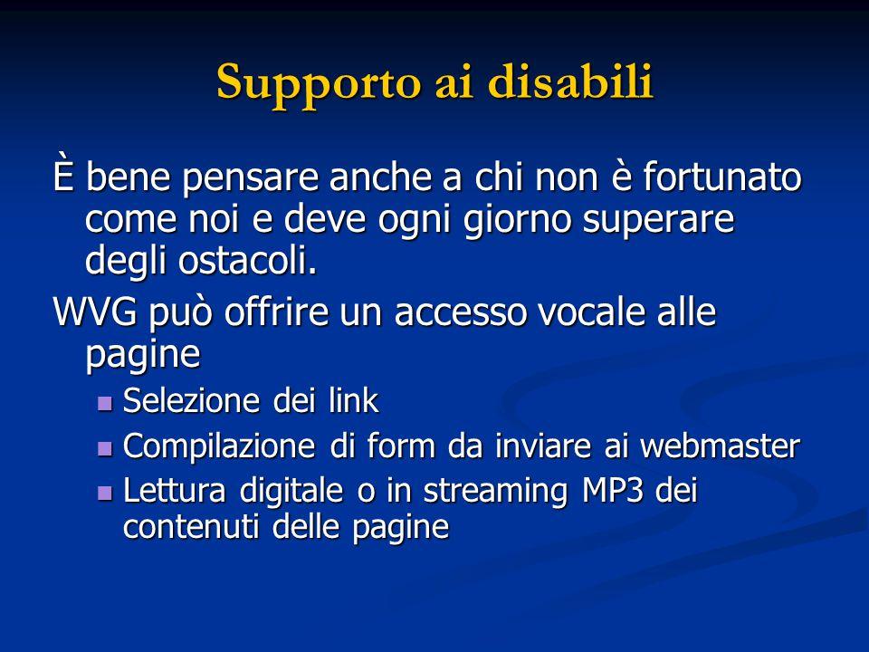 Supporto ai disabili È bene pensare anche a chi non è fortunato come noi e deve ogni giorno superare degli ostacoli. WVG può offrire un accesso vocale