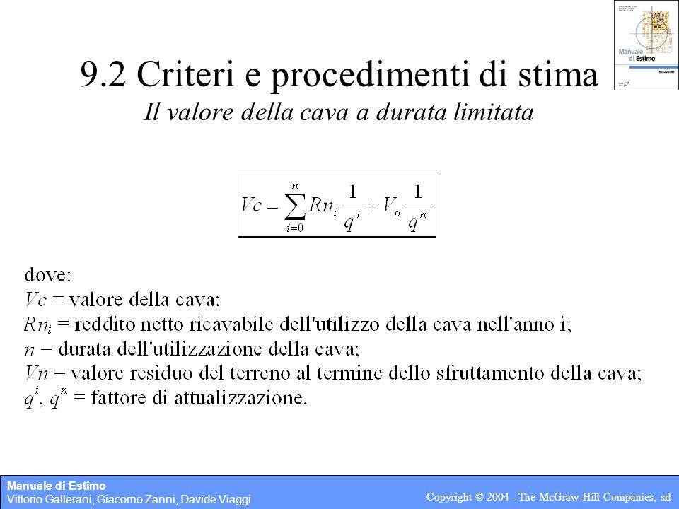 Manuale di Estimo Vittorio Gallerani, Giacomo Zanni, Davide Viaggi Copyright © 2004 - The McGraw-Hill Companies, srl 9.2 Criteri e procedimenti di sti