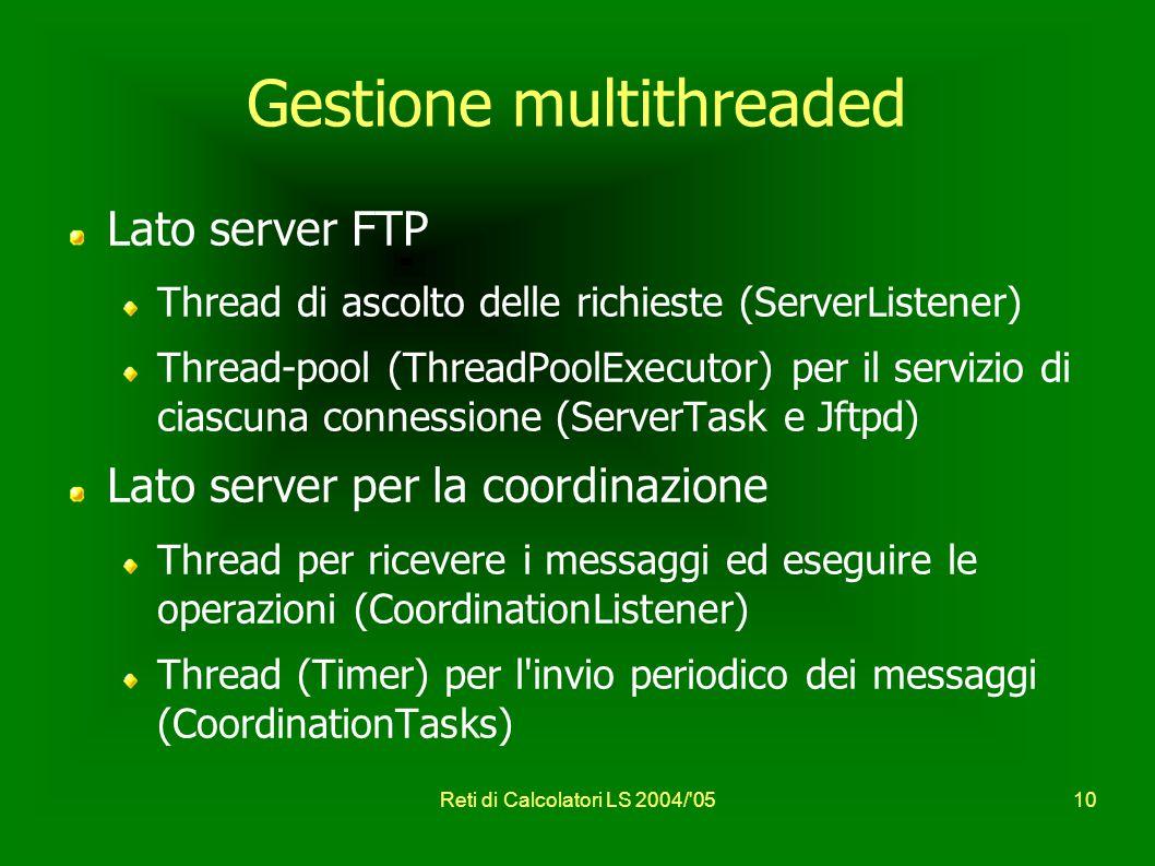 Reti di Calcolatori LS 2004/ 0510 Gestione multithreaded Lato server FTP Thread di ascolto delle richieste (ServerListener) Thread-pool (ThreadPoolExecutor) per il servizio di ciascuna connessione (ServerTask e Jftpd) Lato server per la coordinazione Thread per ricevere i messaggi ed eseguire le operazioni (CoordinationListener) Thread (Timer) per l invio periodico dei messaggi (CoordinationTasks)