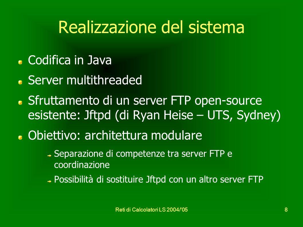 Reti di Calcolatori LS 2004/ 058 Realizzazione del sistema Codifica in Java Server multithreaded Sfruttamento di un server FTP open-source esistente: Jftpd (di Ryan Heise – UTS, Sydney) Obiettivo: architettura modulare Separazione di competenze tra server FTP e coordinazione Possibilità di sostituire Jftpd con un altro server FTP
