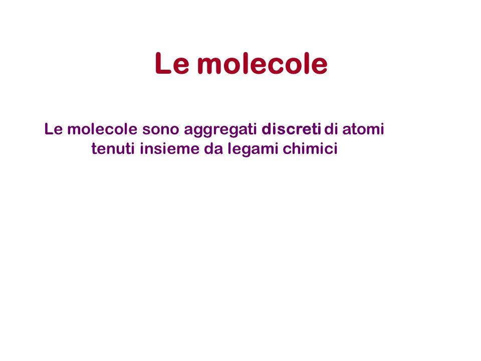 Le molecole Le molecole sono aggregati discreti di atomi tenuti insieme da legami chimici