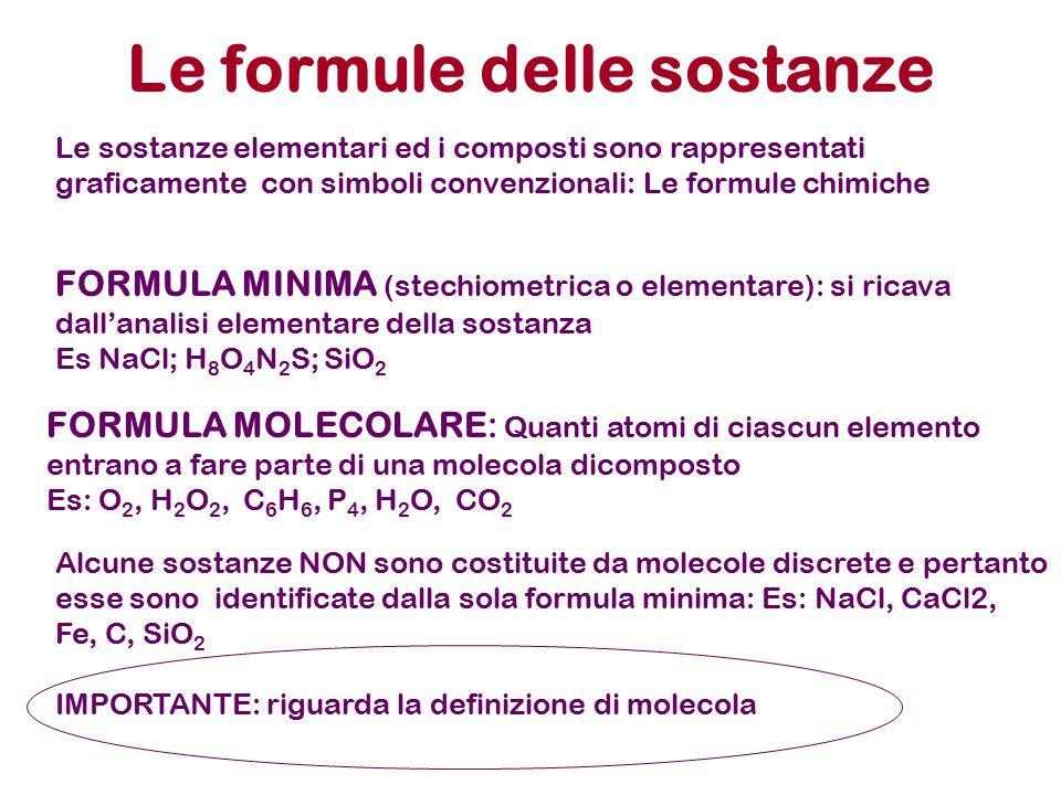 Le formule delle sostanze Le sostanze elementari ed i composti sono rappresentati graficamente con simboli convenzionali: Le formule chimiche FORMULA MINIMA (stechiometrica o elementare): si ricava dall'analisi elementare della sostanza Es NaCl; H 8 O 4 N 2 S; SiO 2 FORMULA MOLECOLARE: Quanti atomi di ciascun elemento entrano a fare parte di una molecola dicomposto Es: O 2, H 2 O 2, C 6 H 6, P 4, H 2 O, CO 2 Alcune sostanze NON sono costituite da molecole discrete e pertanto esse sono identificate dalla sola formula minima: Es: NaCl, CaCl2, Fe, C, SiO 2 IMPORTANTE: riguarda la definizione di molecola