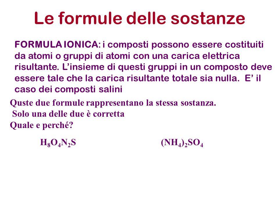 Le formule delle sostanze FORMULA IONICA: i composti possono essere costituiti da atomi o gruppi di atomi con una carica elettrica risultante. L'insie
