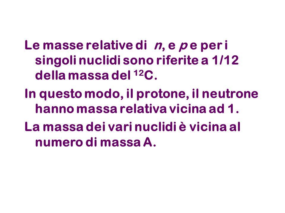 Le masse relative di n, e p e per i singoli nuclidi sono riferite a 1/12 della massa del 12 C.