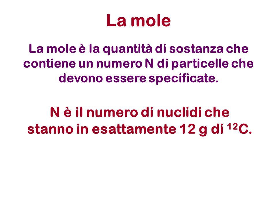 La mole è la quantità di sostanza che contiene un numero N di particelle che devono essere specificate.