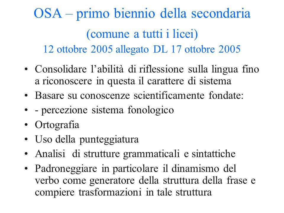 OSA – primo biennio della secondaria (comune a tutti i licei) 12 ottobre 2005 allegato DL 17 ottobre 2005 Il sistema della lingua Fonologia: sistema v