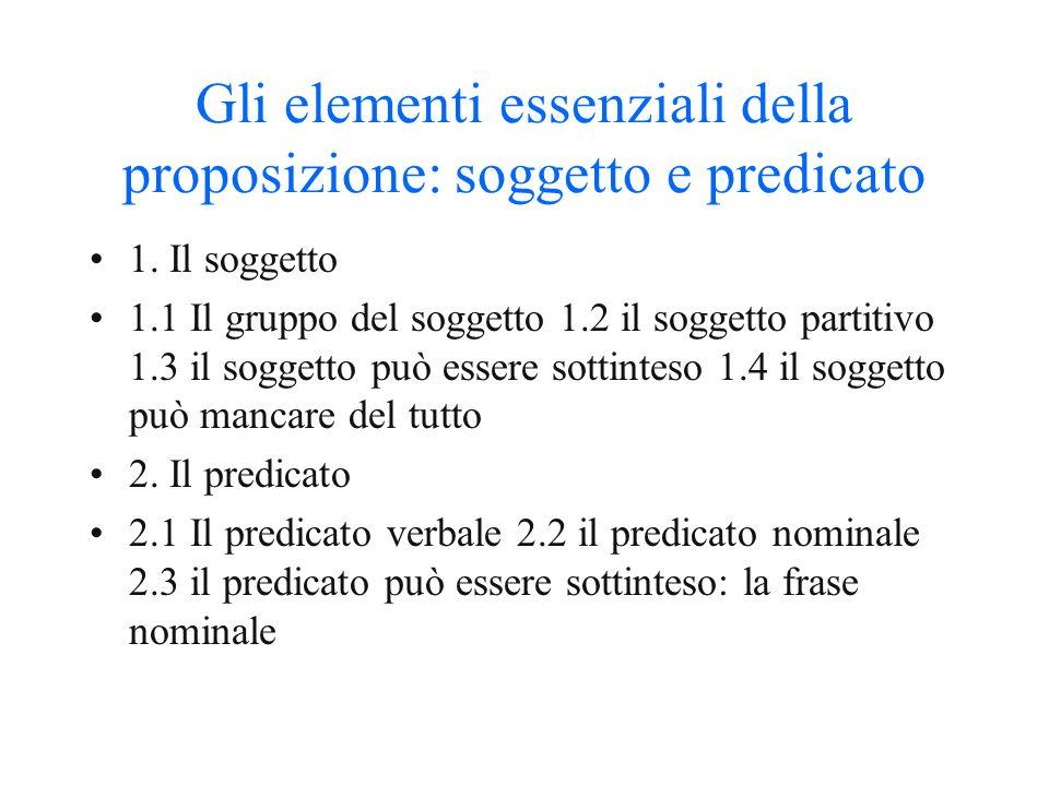 """La frase semplice o proposizione 1. La frase 2. La frase semplice e la frase complessa 3. La """"forma base"""" della frase semplice: la frase minima 4. L'e"""