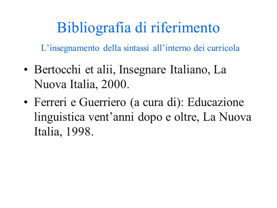 Bibliografia di riferimento La nozione di sintassi Moro Andrea: I confini di Babele, Longanesi, 2006 Donati Caterina, Sintassi elementare, Carocci, 20