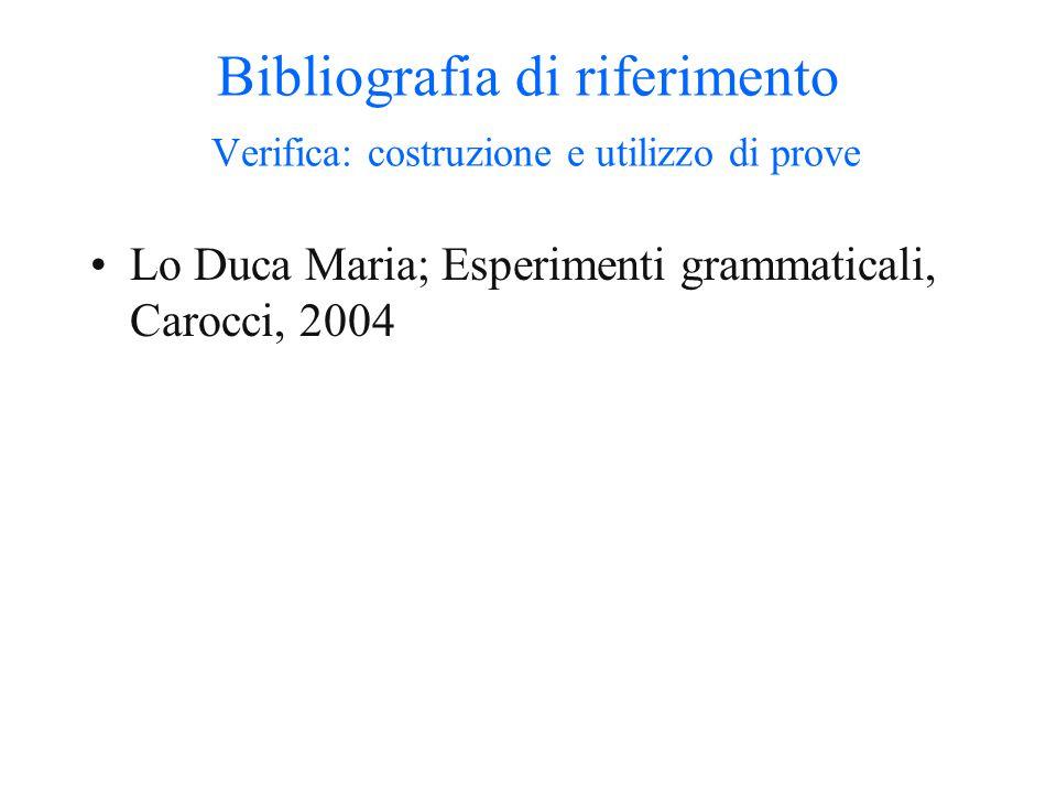 Bibliografia di riferimento L'insegnamento della sintassi all'interno dei curricola Bertocchi et alii, Insegnare Italiano, La Nuova Italia, 2000. Ferr