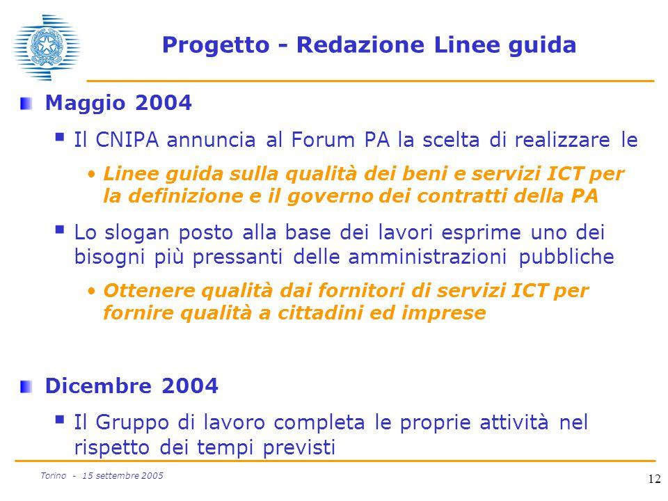 12 Torino - 15 settembre 2005 Progetto - Redazione Linee guida Maggio 2004  Il CNIPA annuncia al Forum PA la scelta di realizzare le Linee guida sull