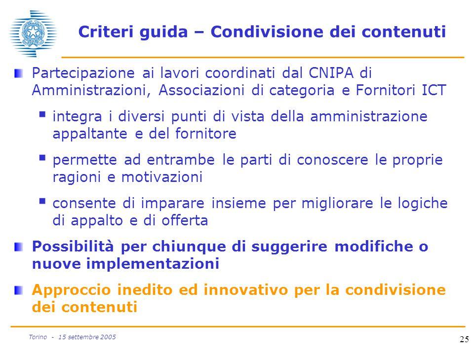 25 Torino - 15 settembre 2005 Criteri guida – Condivisione dei contenuti Partecipazione ai lavori coordinati dal CNIPA di Amministrazioni, Associazion