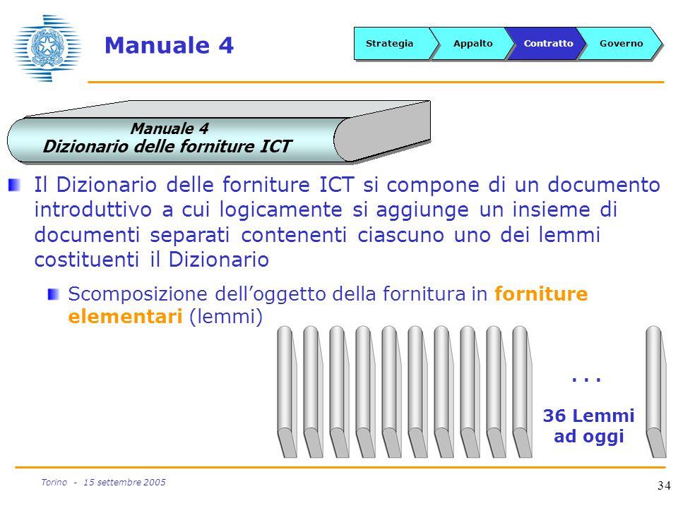 34 Torino - 15 settembre 2005 Manuale 4 Dizionario delle forniture ICT Manuale 4... 36 Lemmi ad oggi Il Dizionario delle forniture ICT si compone di u