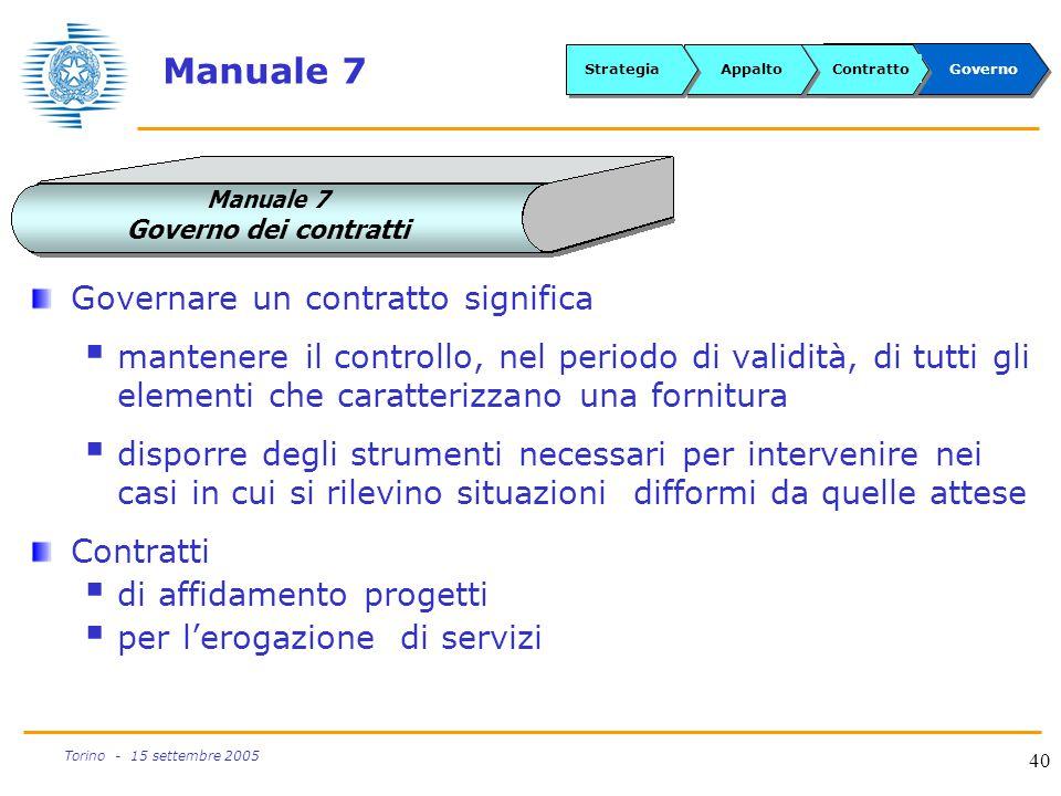40 Torino - 15 settembre 2005 Manuale 7 Governare un contratto significa  mantenere il controllo, nel periodo di validità, di tutti gli elementi che