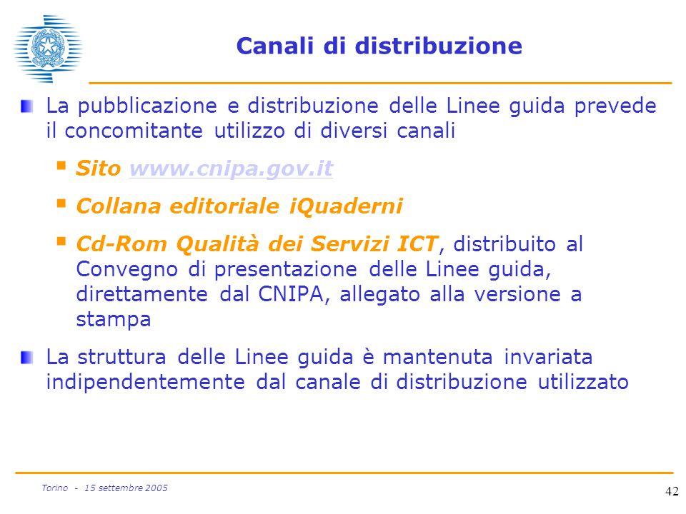42 Torino - 15 settembre 2005 Canali di distribuzione La pubblicazione e distribuzione delle Linee guida prevede il concomitante utilizzo di diversi c