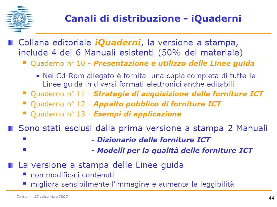 44 Torino - 15 settembre 2005 Canali di distribuzione - iQuaderni Collana editoriale iQuaderni, la versione a stampa, include 4 dei 6 Manuali esistent