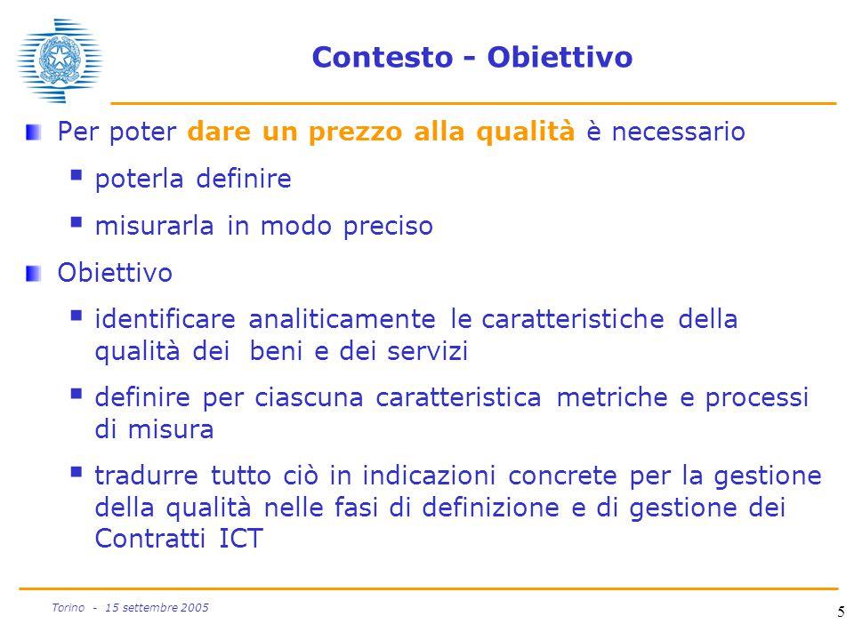 5 Torino - 15 settembre 2005 Contesto - Obiettivo Per poter dare un prezzo alla qualità è necessario  poterla definire  misurarla in modo preciso Ob