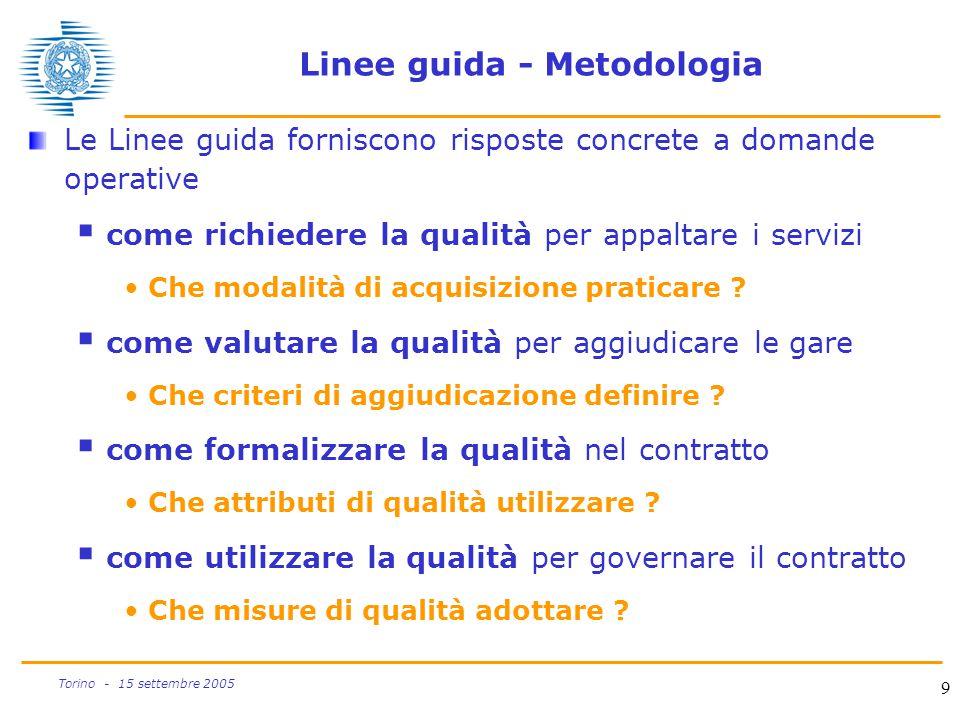 9 Torino - 15 settembre 2005 Linee guida - Metodologia Le Linee guida forniscono risposte concrete a domande operative  come richiedere la qualità pe