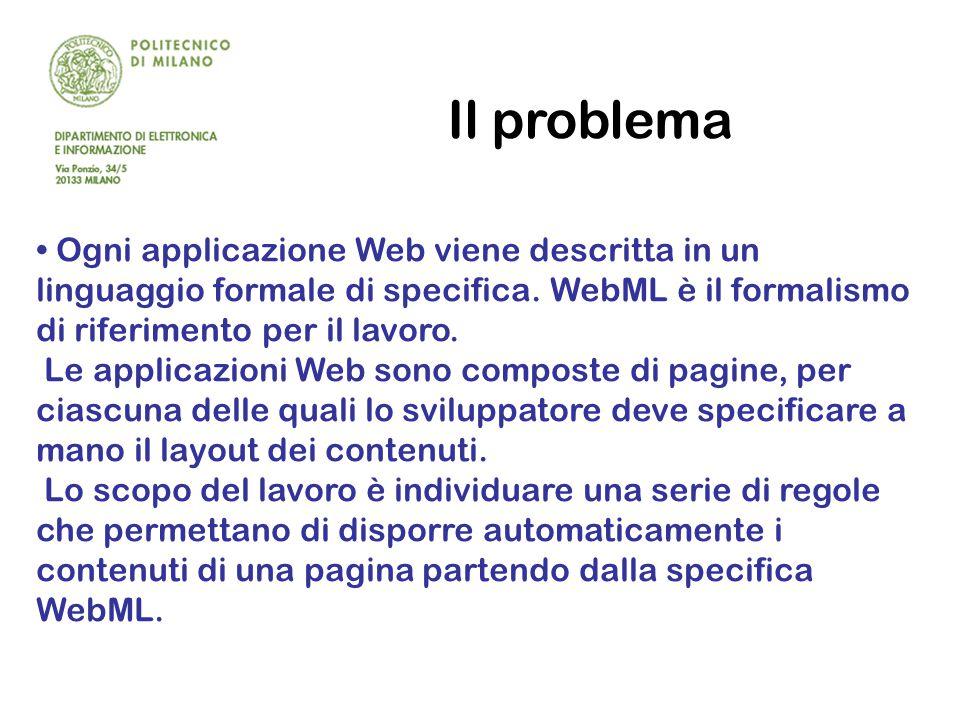 Il problema Ogni applicazione Web viene descritta in un linguaggio formale di specifica.