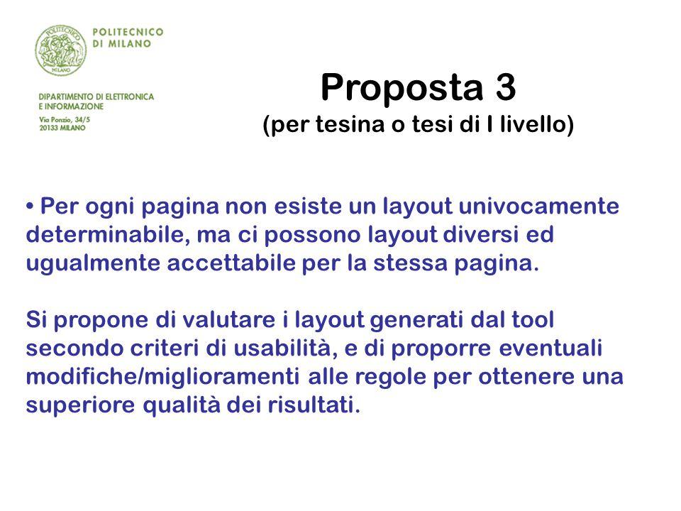 Proposta 3 (per tesina o tesi di I livello) Per ogni pagina non esiste un layout univocamente determinabile, ma ci possono layout diversi ed ugualmente accettabile per la stessa pagina.