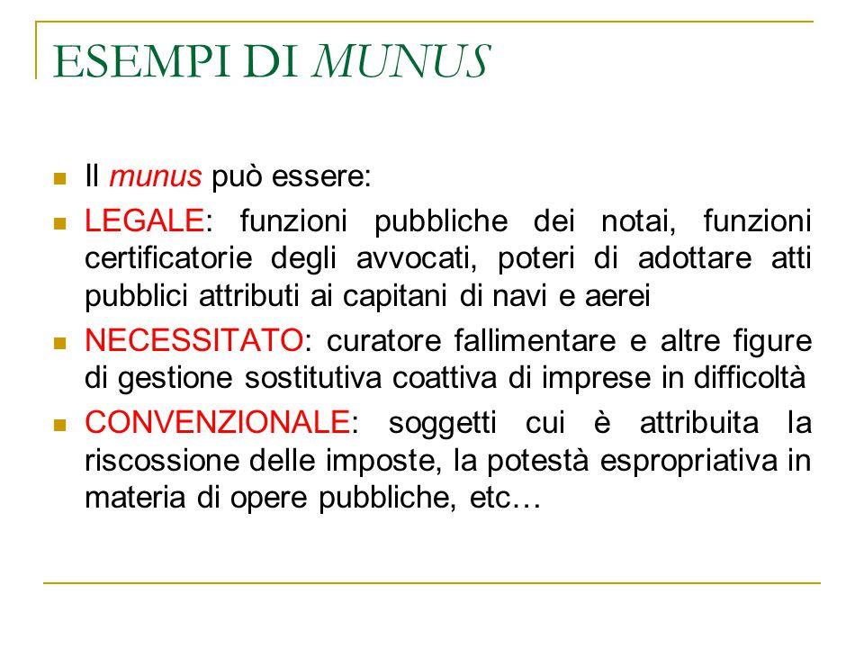 ESEMPI DI MUNUS Il munus può essere: LEGALE: funzioni pubbliche dei notai, funzioni certificatorie degli avvocati, poteri di adottare atti pubblici at
