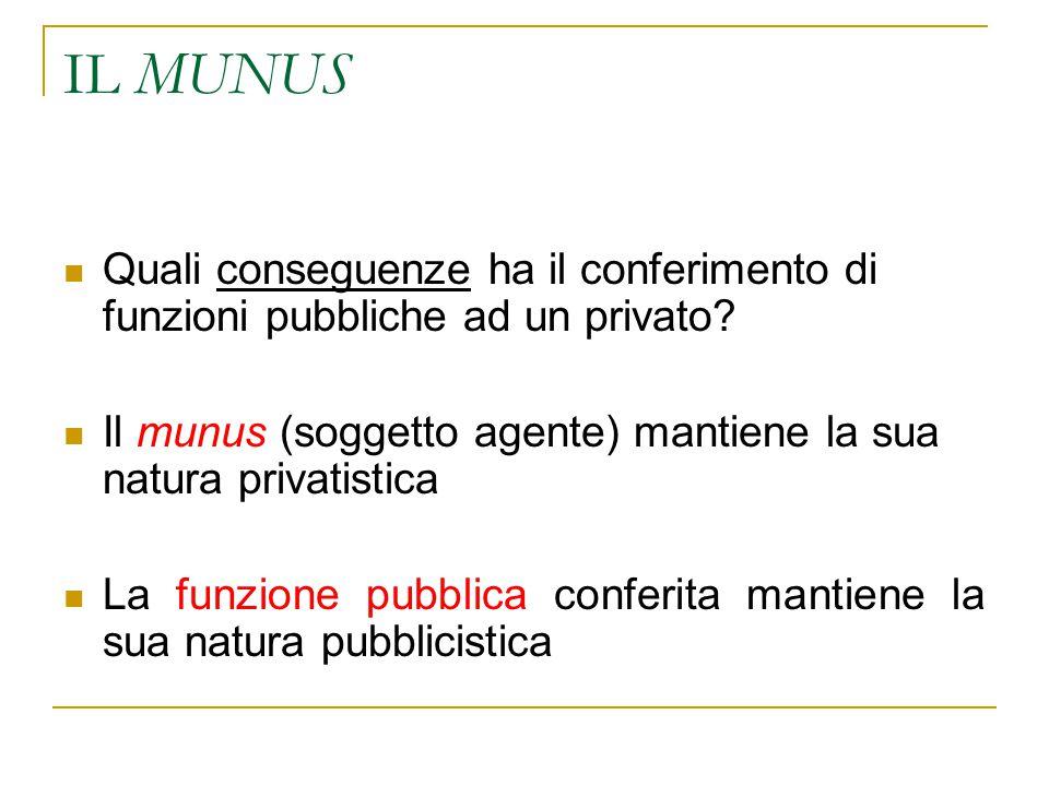 IL MUNUS Quali conseguenze ha il conferimento di funzioni pubbliche ad un privato.
