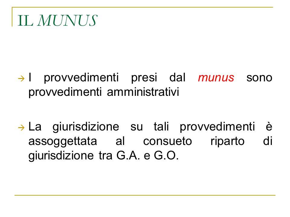 IL MUNUS  I provvedimenti presi dal munus sono provvedimenti amministrativi  La giurisdizione su tali provvedimenti è assoggettata al consueto riparto di giurisdizione tra G.A.