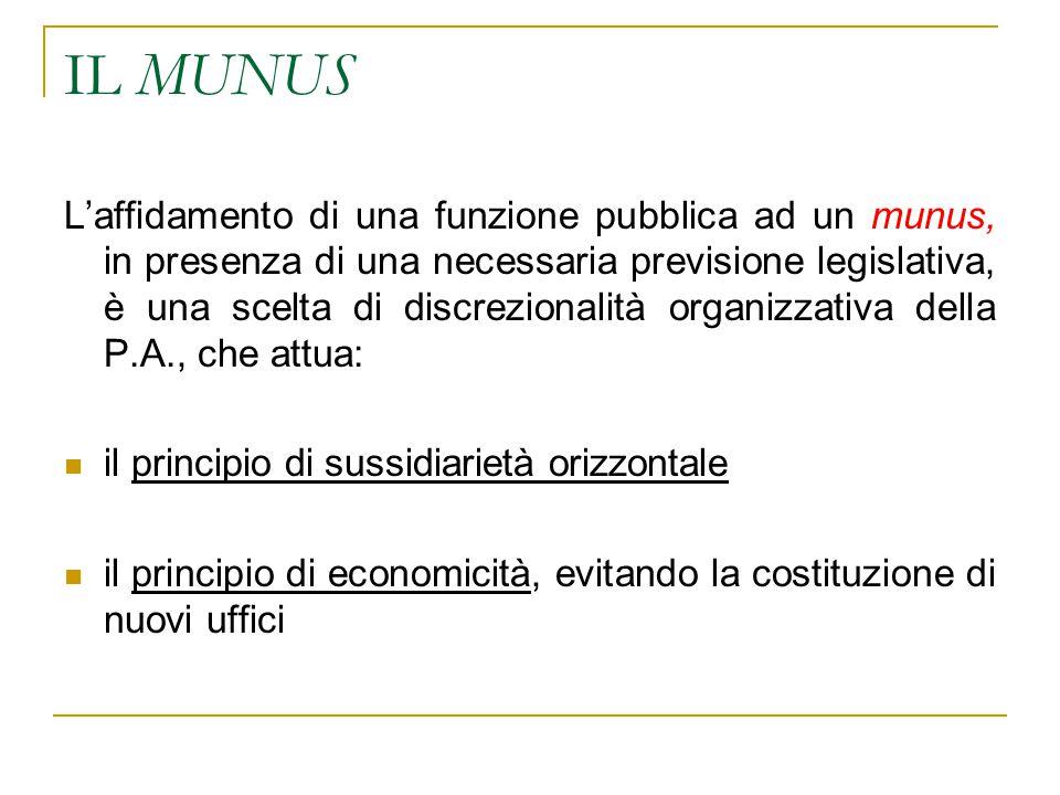 IL MUNUS L'affidamento di una funzione pubblica ad un munus, in presenza di una necessaria previsione legislativa, è una scelta di discrezionalità org
