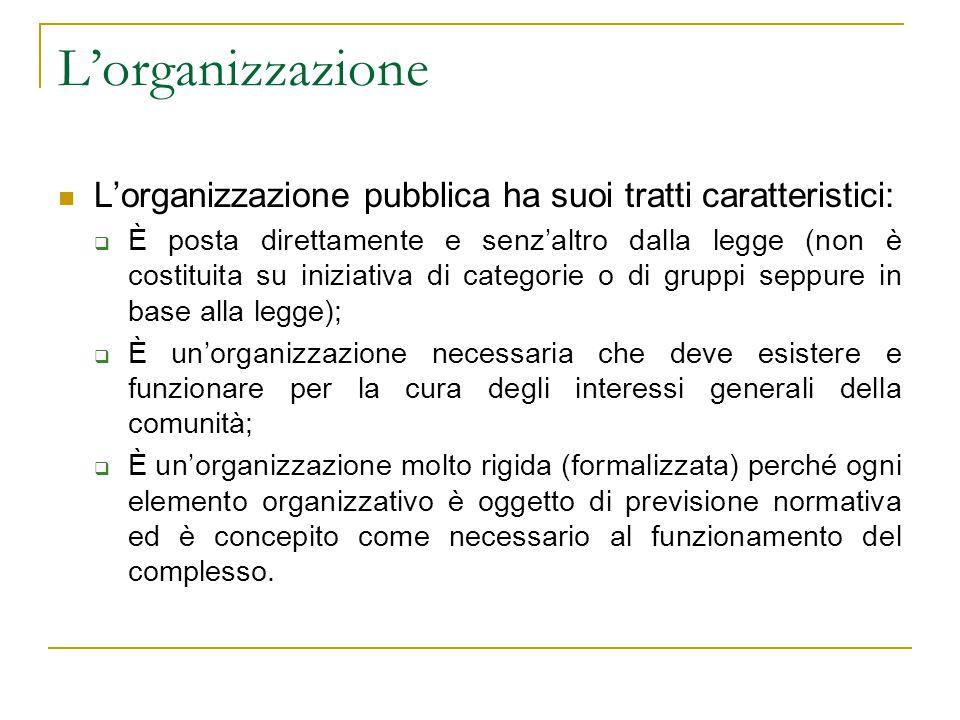 L'organizzazione L'organizzazione pubblica ha suoi tratti caratteristici:  È posta direttamente e senz'altro dalla legge (non è costituita su iniziat