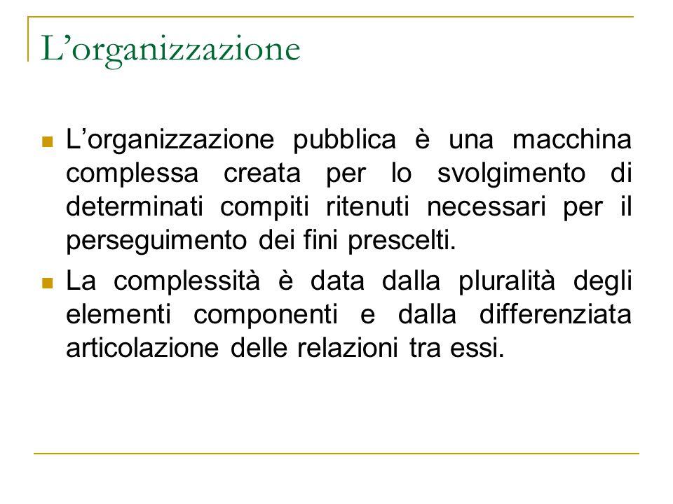 L'organizzazione L'organizzazione pubblica è una macchina complessa creata per lo svolgimento di determinati compiti ritenuti necessari per il perseguimento dei fini prescelti.