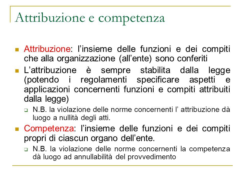 Attribuzione e competenza Attribuzione: l'insieme delle funzioni e dei compiti che alla organizzazione (all'ente) sono conferiti L'attribuzione è semp