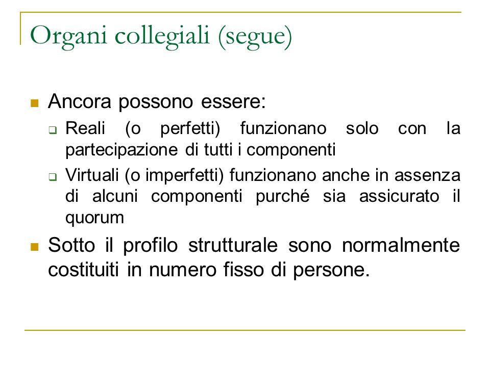 Organi collegiali (segue) Ancora possono essere:  Reali (o perfetti) funzionano solo con la partecipazione di tutti i componenti  Virtuali (o imperf