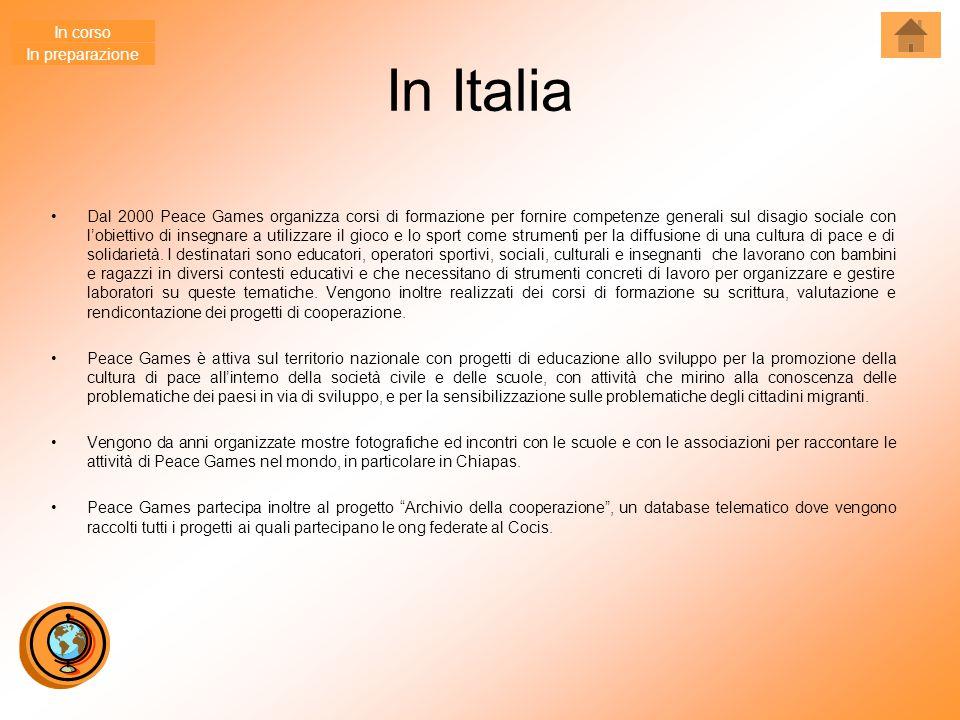In Italia Dal 2000 Peace Games organizza corsi di formazione per fornire competenze generali sul disagio sociale con l'obiettivo di insegnare a utilizzare il gioco e lo sport come strumenti per la diffusione di una cultura di pace e di solidarietà.