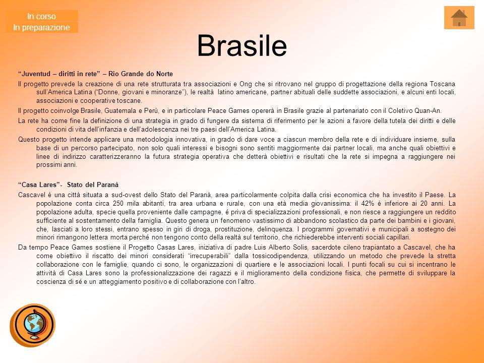 """Brasile """"Juventud – diritti in rete"""" – Rio Grande do Norte Il progetto prevede la creazione di una rete strutturata tra associazioni e Ong che si ritr"""