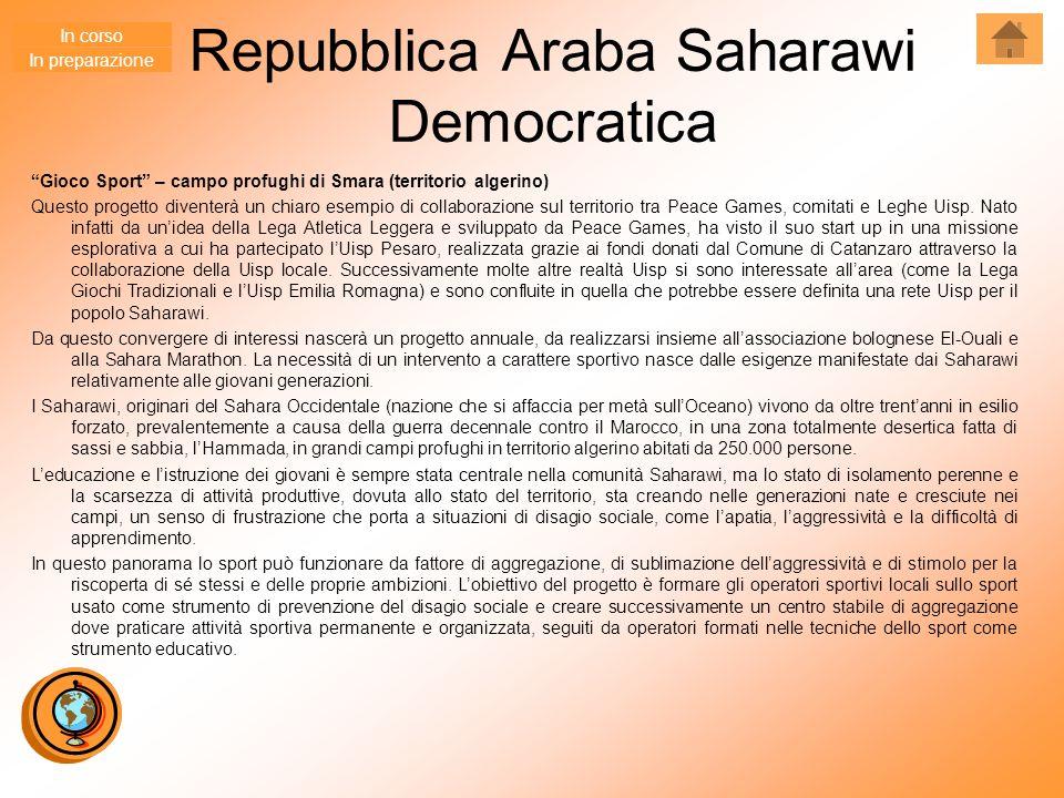 """Repubblica Araba Saharawi Democratica """"Gioco Sport"""" – campo profughi di Smara (territorio algerino) Questo progetto diventerà un chiaro esempio di col"""