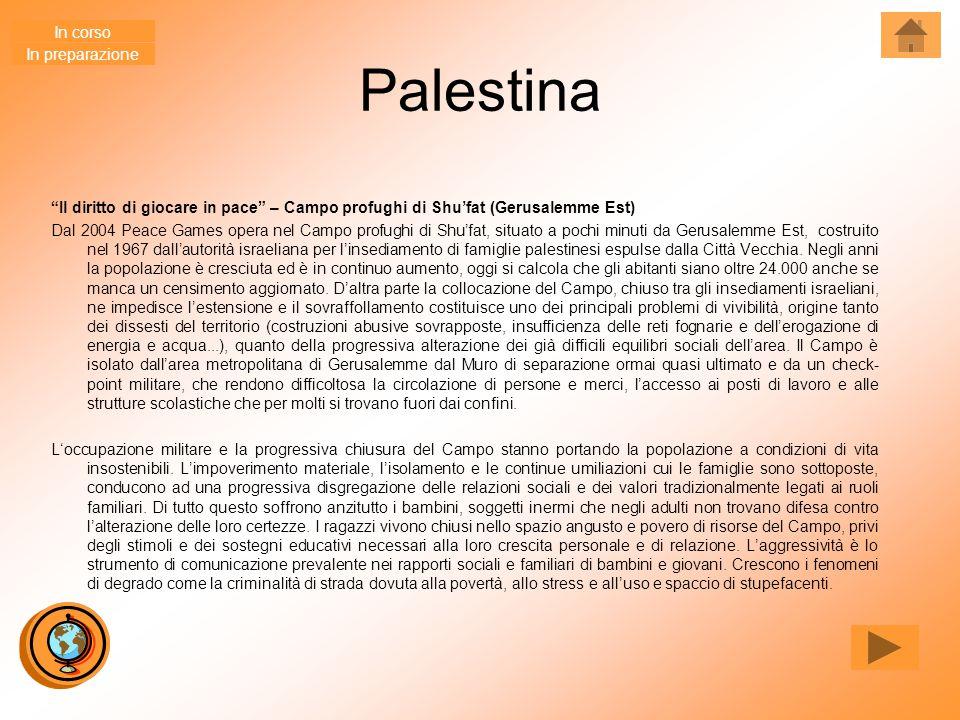 """Palestina """"Il diritto di giocare in pace"""" – Campo profughi di Shu'fat (Gerusalemme Est) Dal 2004 Peace Games opera nel Campo profughi di Shu'fat, situ"""