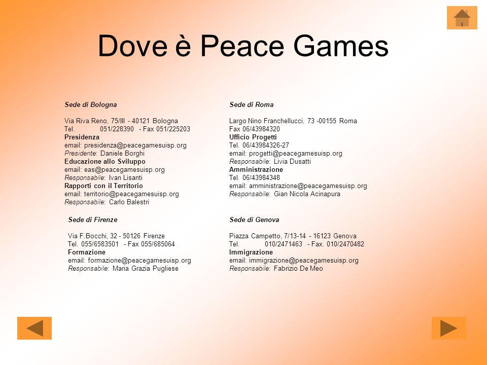 Dove è Peace Games Sede di Bologna Via Riva Reno, 75/III - 40121 Bologna Tel. 051/228390 - Fax 051/225203 Presidenza email: presidenza@peacegamesuisp.