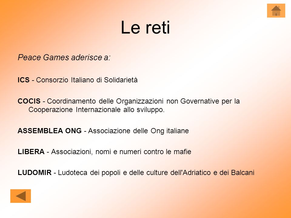 Le reti Peace Games aderisce a: ICS - Consorzio Italiano di Solidarietà COCIS - Coordinamento delle Organizzazioni non Governative per la Cooperazione Internazionale allo sviluppo.