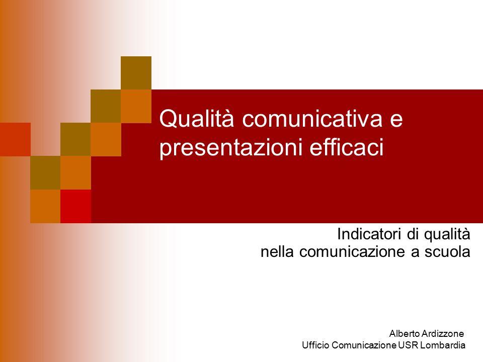 Qualità comunicativa e presentazioni efficaci Indicatori di qualità nella comunicazione a scuola Alberto Ardizzone Ufficio Comunicazione USR Lombardia