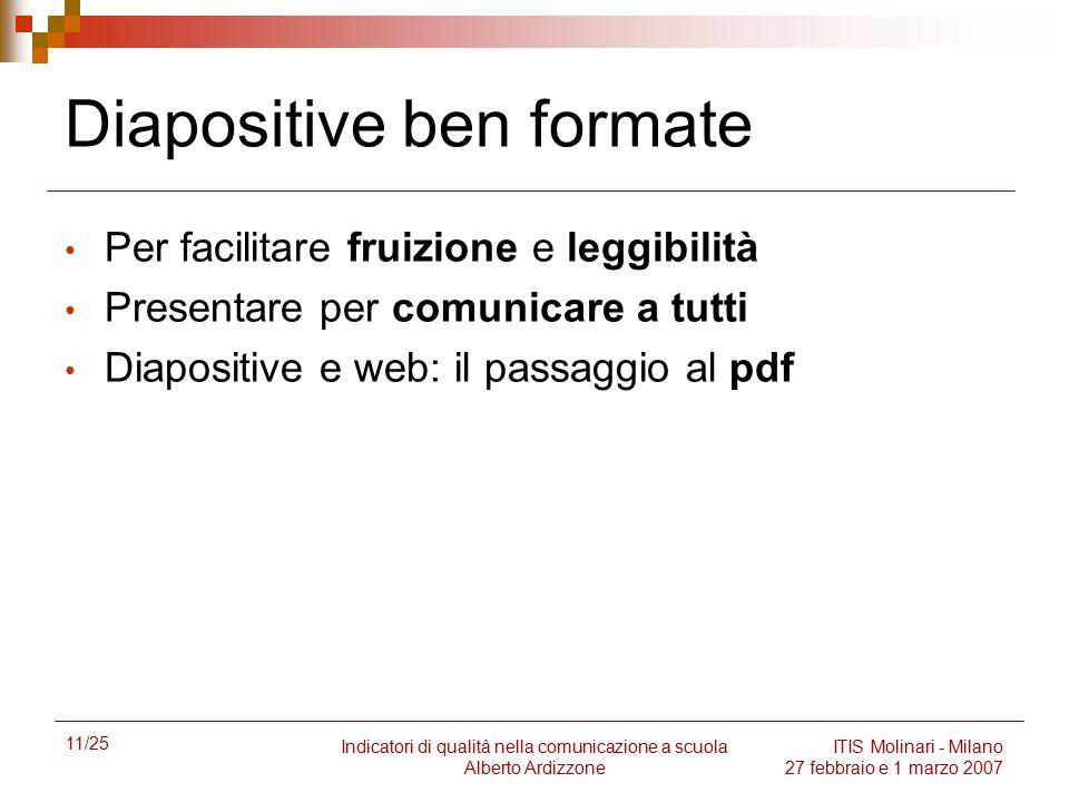 11/25 Indicatori di qualità nella comunicazione a scuola Alberto Ardizzone ITIS Molinari - Milano 27 febbraio e 1 marzo 2007 Diapositive ben formate P