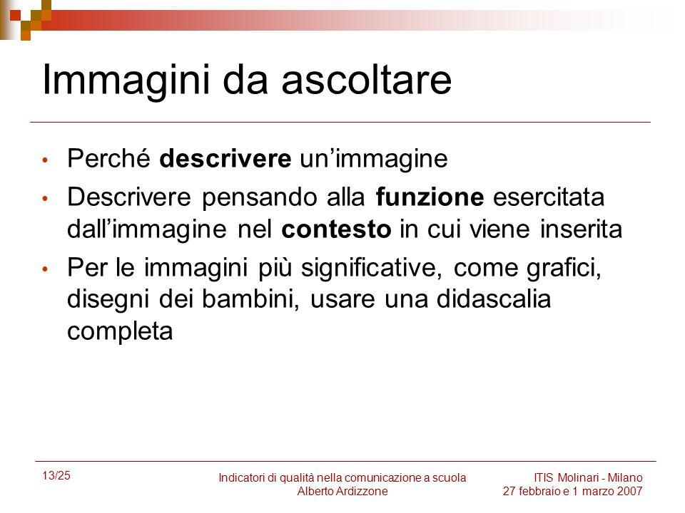 13/25 Indicatori di qualità nella comunicazione a scuola Alberto Ardizzone ITIS Molinari - Milano 27 febbraio e 1 marzo 2007 Immagini da ascoltare Per