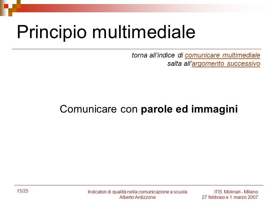 15/25 Indicatori di qualità nella comunicazione a scuola Alberto Ardizzone ITIS Molinari - Milano 27 febbraio e 1 marzo 2007 Principio multimediale to