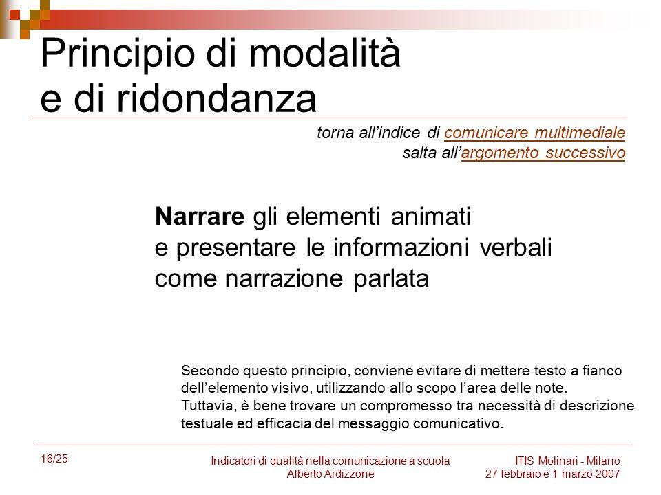 16/25 Indicatori di qualità nella comunicazione a scuola Alberto Ardizzone ITIS Molinari - Milano 27 febbraio e 1 marzo 2007 Principio di modalità e d