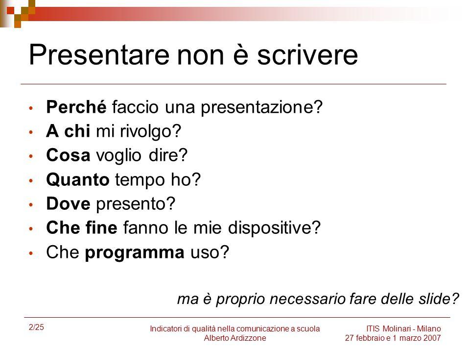2/25 Indicatori di qualità nella comunicazione a scuola Alberto Ardizzone ITIS Molinari - Milano 27 febbraio e 1 marzo 2007 Presentare non è scrivere